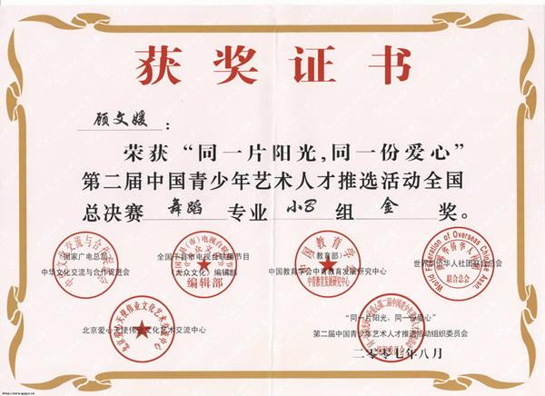 舞蹈艺术获奖证书